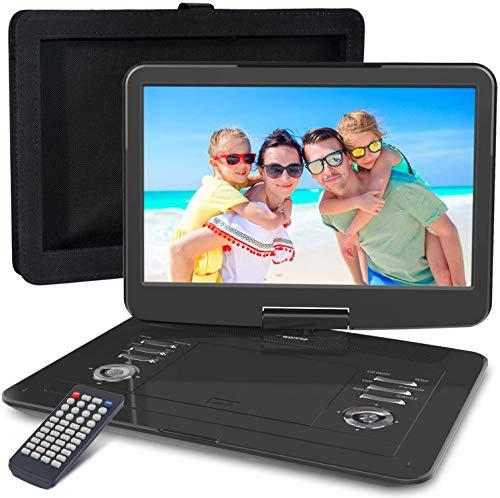 WONNIE 15,5-Zoll tragbarer DVD Player mit schwenkbarem 270-Bildschirm, integriertem Aukku 4 Stunden, Stereo-Sound, ohne Region, Auto DVD Player Unterstützung für USB/SD/AV Out & IN(Schwarz)