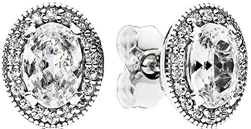 Pandora Jewelry - Oval Sparkle Halo Stud Earrings in Sterling Silver with Clear Cubic Zirconia