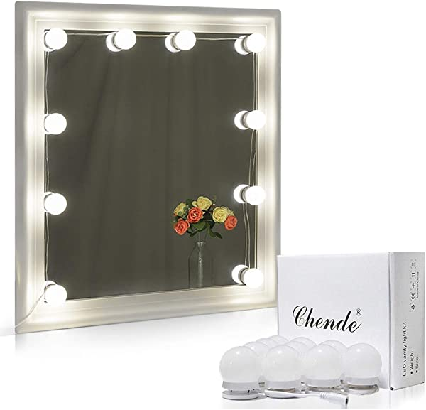 Chende Hollywood Style LED Vanity Mirror Lights Kit With Dimmable Light Bulbs Lighting Fixture Strip For Makeup Vanity Table Set In Dressing Room Mirror Not Include