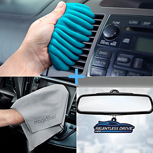 Relentless Drive Car Vent Cleaner, Dust Cleaning Gel, Car Cleaner Interior Kit, Includes Cleaning Putty for Car Detailing and Keyboard Cleaner, Car Air Freshener & XL Microfiber Cleaning Cloth