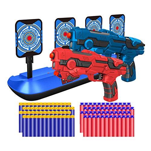 2 Pack Blaster Toy Guns Darts Gun for Boys & Shooting Scoring Auto Reset Electric Digital Target, Hand Gun Toys Shotgun Set with 80 Pcs Soft Foam Bullet (Red & Blue)