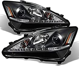 For Lexus IS250 IS350 2IS Black Bezel Halo Projector DRL Daylight LED Strip Headlights Replacement Pair