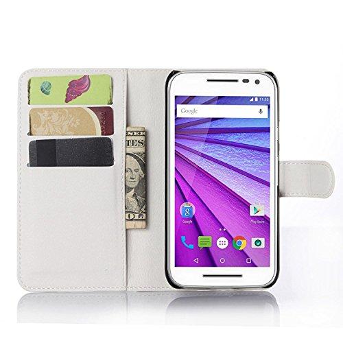 Ycloud Tasche für Motorola Moto G 3 Generation Hülle, PU Ledertasche Flip Cover Wallet Hülle Handyhülle mit Stand Function Credit Card Slots Bookstyle Purse Design weiß