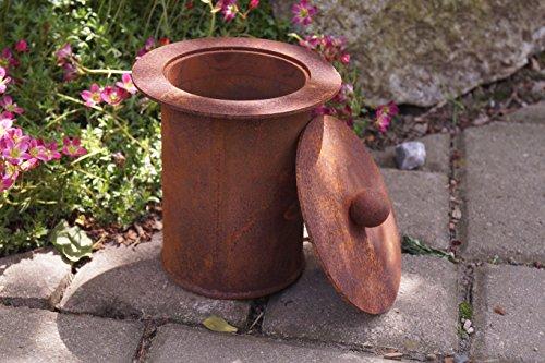 DW Edelrost Feuertopf mit Deckel Durchmesser 11cm Garten Fackel Beleuchten Metall Rost