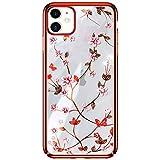 AIJOAIM Custodia per iPhone 12 PRO Cover Lucido Chiaro Cristallo Glitter Diamante TPU Morbida Placcatura Bumper Case Cover,Rosso,iPhone 12 PRO