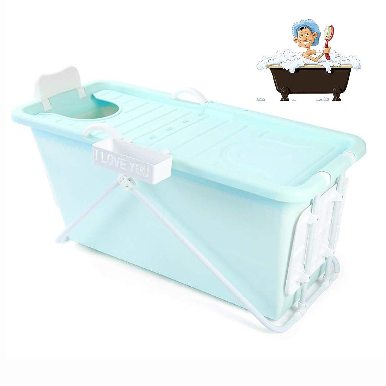 雪だるま重要性笑折りたたみバスタブ GYF 子供用ポータブル折りたたみ式浴槽プール大人用/高齢者用の大型の自立型コーナーバスタブバスバケツスパニング、カバー付きの長い断熱時間 2色折りたたみバスタブ (Color : Blue)