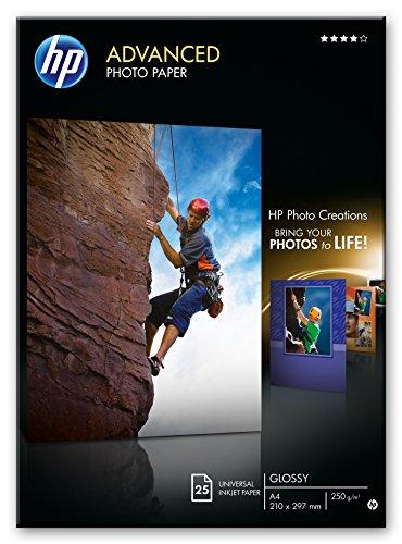 HP Q5456A Advanced Glossy Photo Paper, Confezione da 25 Fogli di Carta Fotografica Lucida, Originali HP, Compatibile con Stampanti a Getto di Inchiostro, 21 x 29.7 cm (A4), 250 g/m², Bianca