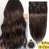 22 Pouces/55CM Extensions A clip Cheveux Naturel 8 PCS Rajout Cheveux Clip Naturel Extension Clip...