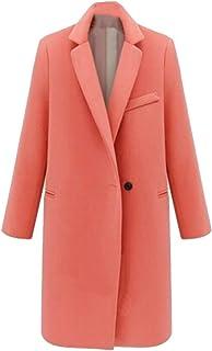 maweisong 女性ファッションラペル厚いロングスリーブウールブレンドピーコートジャケット