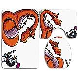 Alfombras de baño Set Dragon Cartoon Knight Frente a un fuego feroz Escupir Humor medieval Boceto Lavable Alfombra de baño + Alfombrilla de contorno + Cubierta de asiento de inodoro, Alfombra de piso