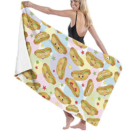 Lsjuee Toalla de Playa de Microfibra para Piscina, Perros Calientes, emoticonos, Toalla de baño de Secado rápido, Toallas de Surf, Esterilla de Yoga (31,5 x 51,2 Pulgadas)
