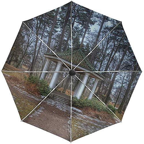 Automatischer Regenschirm-Frühlings-Park-Baum-Landschaftsreise-bequemes winddichtes wasserdichtes faltendes Auto öffnen Sich nah