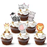 Jungle Safari Cupcake Toppers 48 Count - Safari Animals Cake Topper - Super Cute Zoo Animal Cupcake Picks - Easy Set Up For Baby Shower and Birthday Party - Set of 48 by Pretty Cute Studios