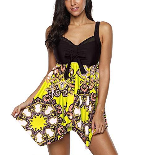 Best Review Of Ros1ock Swimwear Women Plus Size Print Tankini Swimjupmsuit Mesh Patchwork Swimdress ...
