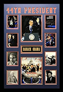 US Art 22X32 Inch Collage of 44th President Barack Obama. Blue & RED MATTED Picture - Framed with 1.5 Inch Black Frame