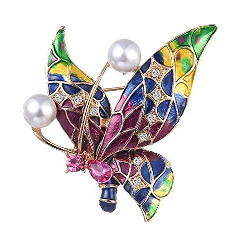 Broche en forma de mariposa pintada con cristales exquisitos y elegantes para bodas, para bodas, etc.