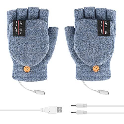 Unisex Women Men USB Heated Gloves Electric Heating Gloves Mitten Winter Warmer Rechargeable Laptop Gloves for Computer Typing Arthritis Hand, Knitting Full& Half Fingerless, Washable (Light Blue)