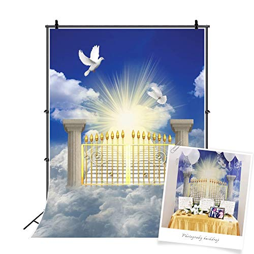 CSFOTO 5x7ft Heaven Backdrop Stairs to Paradise Sunlight Cloud God Belief Church Events Background for Photography Heavens Gates Backdrop Blue Sky White Cloud Backdrop