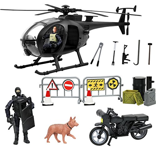 Click N' Play Military SWAT Elite Unit Rescue Helicopter 26 Piece Play Set with Accessories.