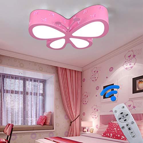 LED Deckenlampe Dimmbar Kinderzimmerlampe Schmetterling Deckenleuchte Mädchen Schlafzimmer Lampen Fernbedienung, Eisen Acryl-schirm Lampe Esszimmer Bad Küche Decken Leuchten L50*W40*H10cm (Pink)