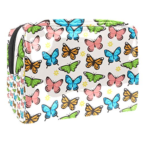 Portable Makeup Bag with Zipper Travel Toiletry Bag for Women Handy Storage Cosmetic Pouch Butterflies Pattern Collection