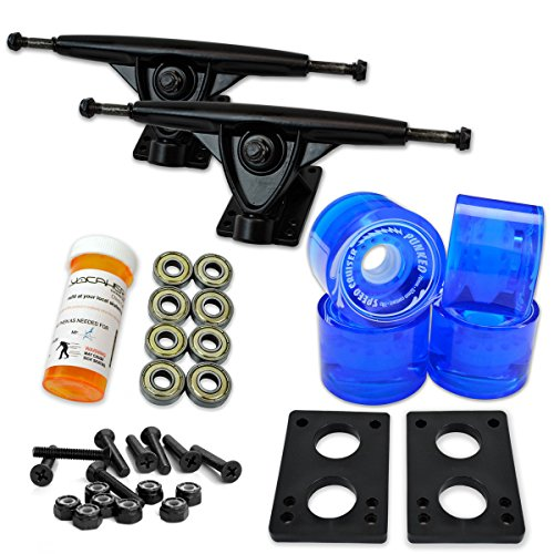 Yocaher Longboard Skateboard Trucks Combo Set w/ 71mm Wheels + 9.675' Polished/Black Trucks Package, Gel Blue Wheel, Black Trucks