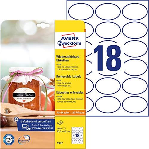 AVERY Zweckform 180 Flaschenetiketten selbstklebend (63, 5x42, 3 mm, Oval, Aufkleber Ideal für Einmachgläser, Gewürzgläser, Likörflaschen, Selbstgemachtes aus Der Küche, Art. 5087) 10 Blatt Weiß