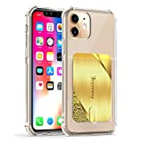 Stanaway iPhone 11 Clear Card Holder Case Ultra Slim Wireless Charger Compatible Soft TPU Shock Protective Shockproof Case (Clear)