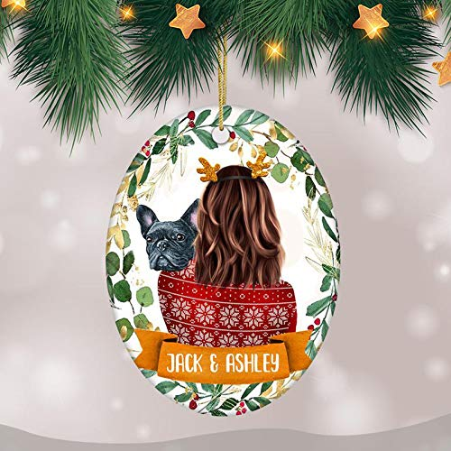 French Bulldog Christmas Ornament, Personalized Dog Ornament with Frenchie, Gift for Dog Owner Family Dog Ornament, French Bulldog Keepsake