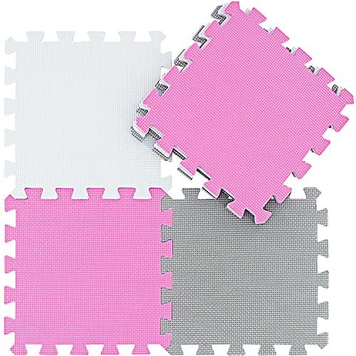 Alfombra Puzzle para Niños Bebe Infantil - Suelo de Goma EVA Suave. 25 Piezas (30 * 30 * 1cm), Blanco, Rosa, Gris.QQC-ACLb25N