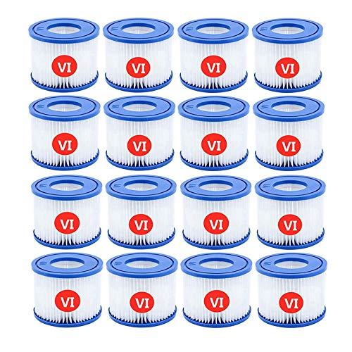 woejgo VI Filter, Ersatzfilter Filterpatrone 6 für Bestway Schwimmbad, für Bestway Flowclear Pool Filter, Filter VI Patrone für Lay Z SPA Miami Vegas Monaco BW58323 ERSTZT 58239. (16 Stück)