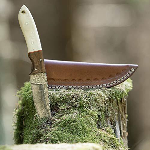 elToro Walnut Horn - Damast - Jagdmesser - 10cm - inkl. Lederscheide; Messer für Camping, Outdoor, Survival, Wald und Forst