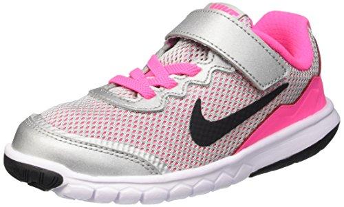 Nike Mädchen Flex Experience 4 (PSV) Turnschuhe, Schwarz/Weiß/Pink (Mtllc Silber/Blck-Wht-Pnk Pw), 35 EU