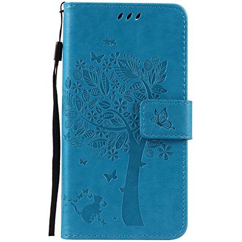 Guran® PU Leder Tasche Etui für Wiko Pulp Fab 4G LTE (5,5 Zoll) Smartphone Flip Cover Stand Hülle & Karte Slot Hülle-blau
