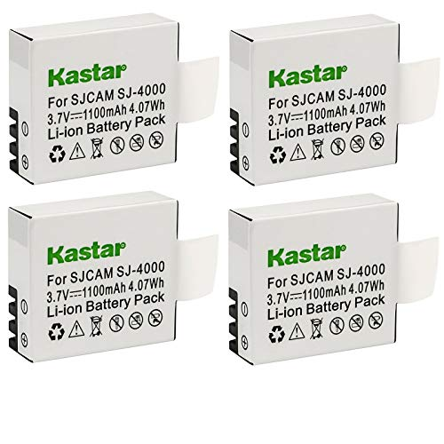 Kastar 4-Pack Battery Replacement for SJCAM SJ6000, SJCAM SJ7000, SJCAM SJ8000, SJCAM SJ9000, Pruveeo DV200 Waterproof Sports Action Camera with WiFi, 4K Video Camcorders