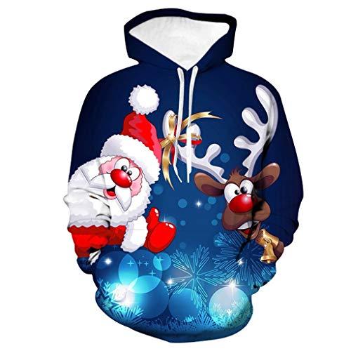 Aoogo Männer Lustig Weihnachten 3D Drucken Mit Kapuze Lange Ärmel Tasche Pullover Drucken Hemd Weihnachtspullover Sweatshirt Christmas Schneeflocken Sweater