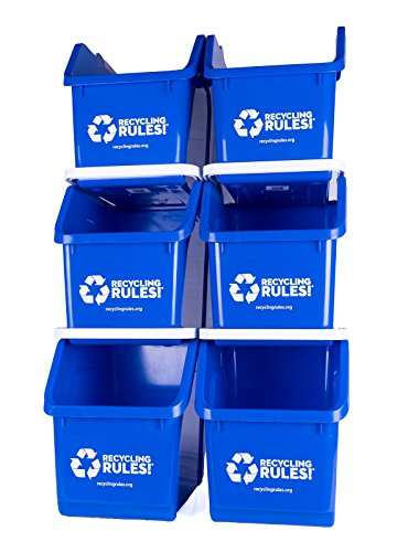 6 Pack of Bins - Blue Stackable Recycling Bin Container with Handle 6 Gallons