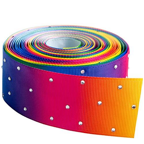 "1-1/2"" 5 Yard Glitter Stone Grosgrain Ribbons Rhinestones for DIY Hair Accessories Gift Packaging Party Decoration Wedding(Rainbow01)"