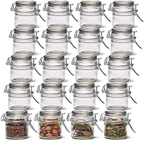 20 tarros de cristal transparente para almacenamiento de especias de cocina, hierbas, baño y fiestas (100 ml)