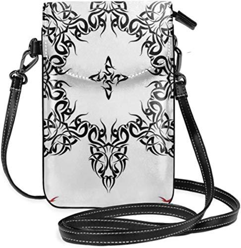 Bolso pequeño para teléfono celular para mujer, diseño étnico de plumas, estampado artístico de flechas y arco