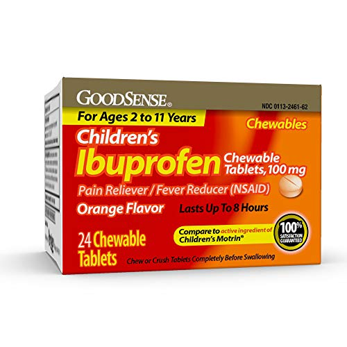GoodSense Children's Ibuprofen Chewable Tablets, 100 mg,24 Count,Pain Reliever and Fever Reducer (NSAID), Temporarily Reduces Fever and Relieves Minor Aches and Pain