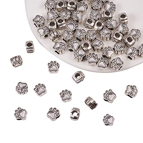 PandaHall Elite 60pcs / Box 11x10,6x7,5mm Tibetische Zinklegierung Europäische Perlen mit 4.8mm Loch, Hundepfote Form Spacer Perle für Armband Schmuckherstellung, Antik Silber