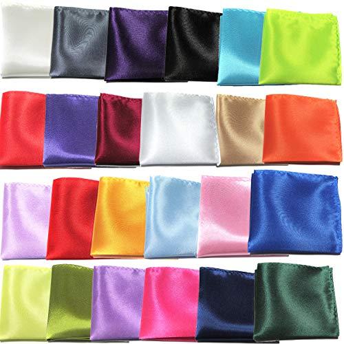dancepandas Pañuelo de Bolsillo Chaqueta 24PCS Seda Men Handkerchief para Boda, Fiesta, Otras Ocasiones, 24 Colores, 22 x 22 cm