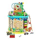 Wenta Lazo motricidad juguete Abakus perlas dinosaurios rompecabezas juego de pesca para niños a partir de 1 año juguete educativo 11 en 1 multifunción juguete de madera multicolor