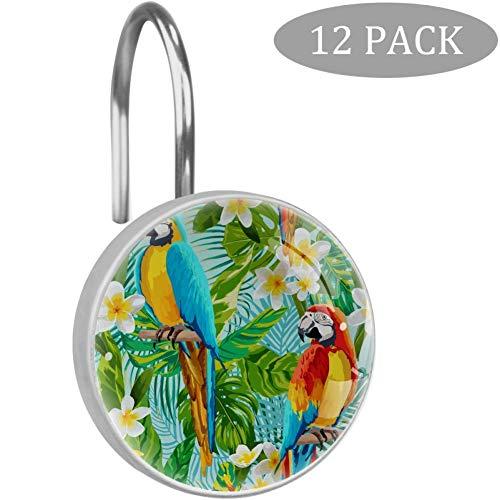 rodde Tropische Blumen & Papagei Duschvorhang Haken, große Vorhanghaken aus Harz, Glas, Edelstahl, 12er-Set Haken
