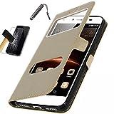 KONTARBOOR Etui Housse Coque ASUS Zenfone 4 Selfie ZD553KL (5.5') Or/Doré + Film Verre Trempé + Stylet