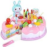 YIQI 38pcs Fingi di Giocare a Torta per Bambini, Fai da Te Taglio Torta di Compleanno Dessert Fingi di Giocare a Set di Frutta e Frutta Giocattoli educativi Divertenti