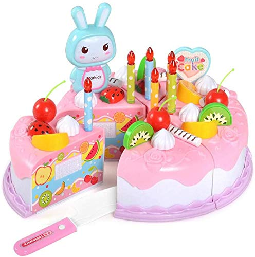 YIQI 38 Piezas Juego de simulación Pastel para niños, Pastel de cumpleaños de Corte de Bricolaje Postre Juego de simulación Cortar Comida Frutas Diversión Juguetes educativos