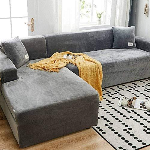 LINGKY Velvet Plüsch Schonbezug Sofa, rutschfeste Stretch Sofabezug Schonbezug Soft Thick Sofa Protector Für L-förmige Schnittcouch (Hellgrau,4 Seater(230-300cm))