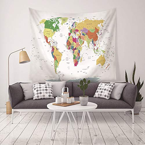 World Map Tapestries Global Map Hanging Wall Colorful Tapestry Decor Room ?Bedroom Living Room Tapesty Peach Velvet Fabric 80x60(in)